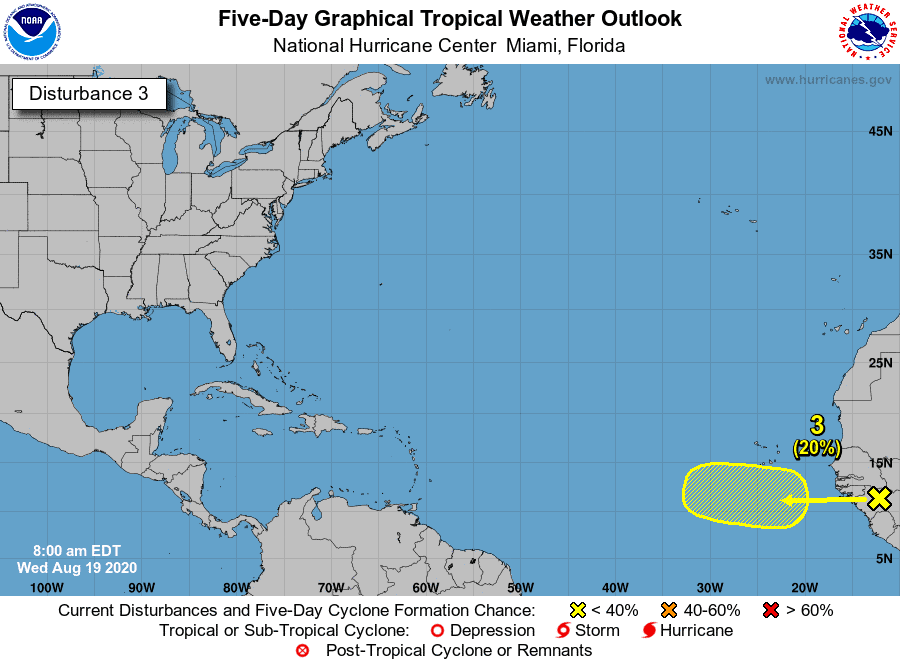 Five-Day Graphical Tropical Weather Outlook | Disturbance 3 | August 19, 2020